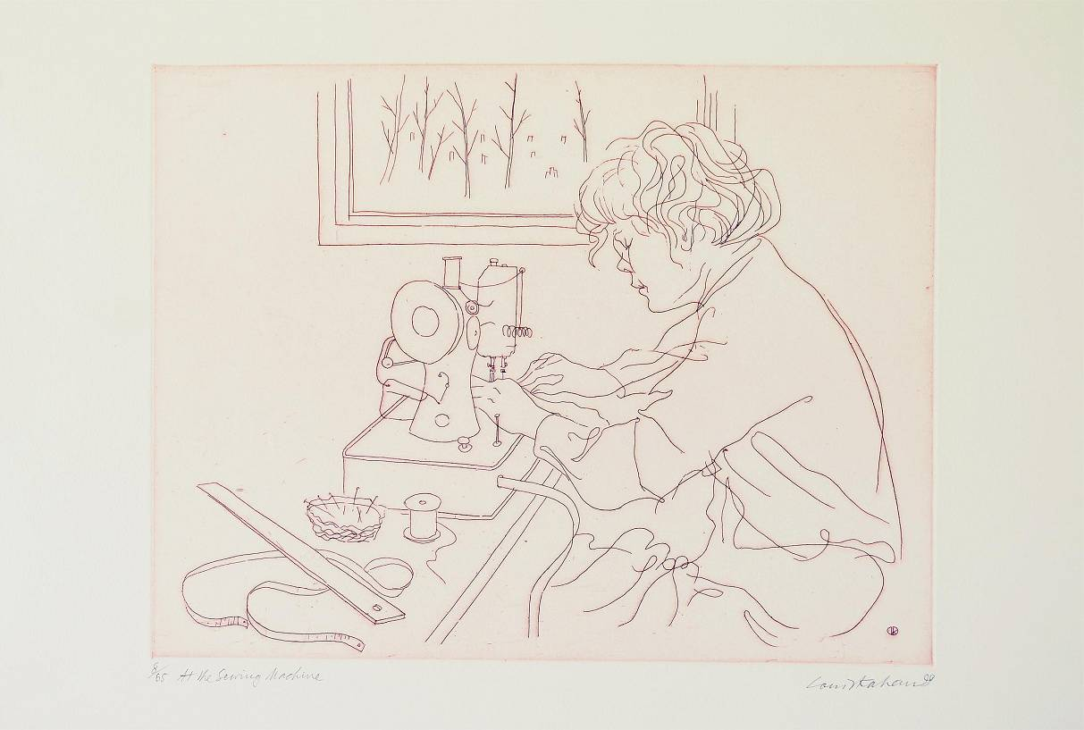 Louis Kahan - At the Sewing Machine