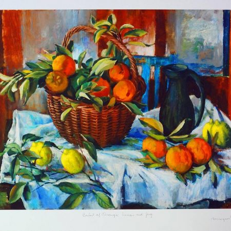 Margaret Olley - Basket of Oranges, Lemons & Jug